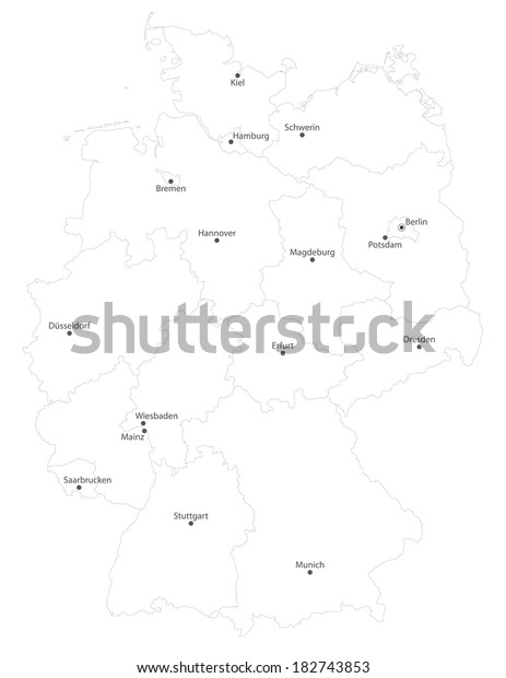 Map Of Germany With States And Cities.Map Germany States Cities En Names Stock Vector Royalty Free 182743853