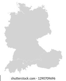 Map of Germany, Switzerland and Austria