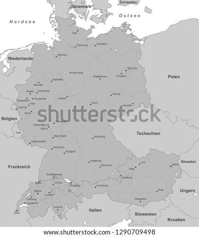 Map Of Germany Austria.Map Germany Switzerland Austria With German Stock Vector Royalty