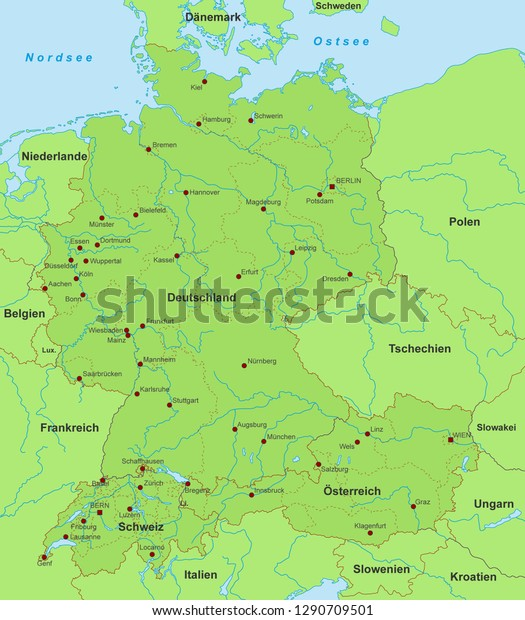 Map Of Germany And Switzerland.Map Germany Switzerland Austria German Inscription Stock Vector
