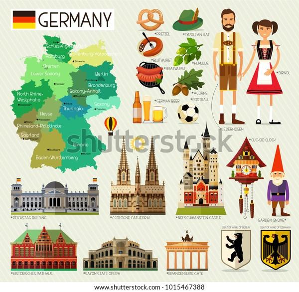 Saksan Kartta Ja Travel Icons Germany Travel Arkistovektori