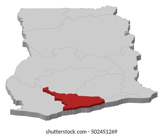 Map - Ghana, Central - 3D-Illustration