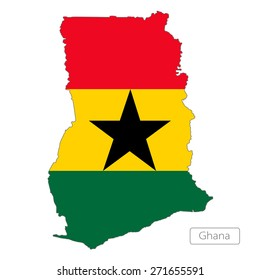Map of Ghana with an official flag. Illustration on white background