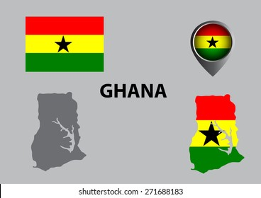 Map of Ghana and symbol