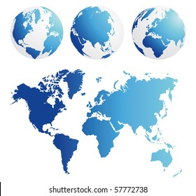 map and globe kit blue