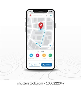 Map GPS navigation, Smartphone map application and red pinpoint on screen, App search map navigation, isolated on line maps background, Vector
