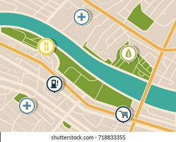 Map with gps pointers for park and shop, hospital