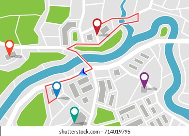 Map with gps pointers and route or itinerary with arrow. Road to direction with marked streets. Pin on navigation map with path. Travel and location information, transport and search theme