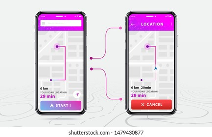 Map GPS, Two smartphone map navigation application and red pinpoint on screen, App search map navigation, isolated on line maps background, Vector illustration