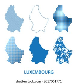 map of Grand Duchy of Luxembourg - vector set of silhouettes in different patterns
