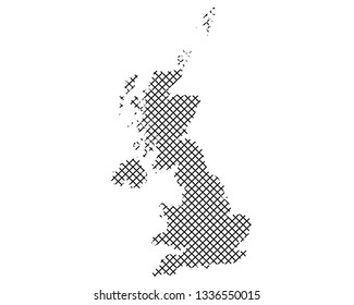Map of Great Britain on simple cross stitch