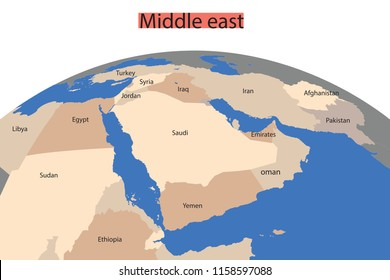 Map of the Greater Middle East. Arab World