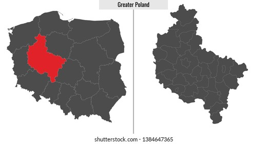 map of Greater Poland voivodship province of Poland and location on Polish map