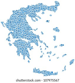 Map of Greece (Europe) in a mosaic of blue circles. A number of 1775 bubbles are accurately inserted into the mosaic. White background