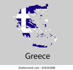Map of Greece with flag. Vector illustration.