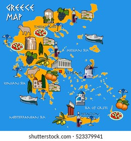 Map of Greece handmade drawing vector illustration. Icons with Greek Parthenon, Thessaloniki, Meteora, Mystras, Myconos, Crete, Santorini islands.