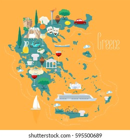 Map of Greece with islands vector illustration, design element. Icons with Greek ancient ruins, acropolis. Explore Greece concept image