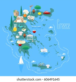 Map of Greece with islands  vector illustration, design element. Icons with Greek landmarks and touristic attractions. Travel to Greece concept image