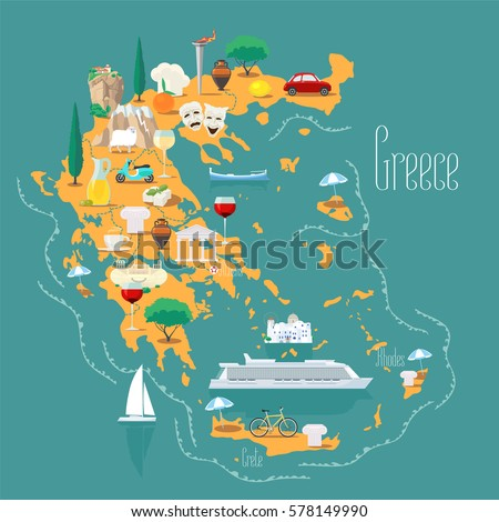 map greece islands vector illustration design stock vector royalty