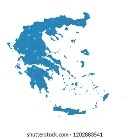 Greece Map Design 3 D Style Blue Stock Vector (Royalty Free ...
