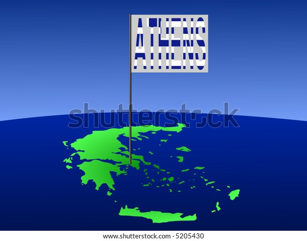 map of Greece with position of Athens marked by flag pole illustration