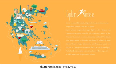 Map of Greece template vector illustration. Icons with Greek ruins, travel destinations. Explore Greece concept image