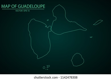 Map of Guadeloupe,Green map on dark background of map of Guadeloupe symbol for your web site design map. Vector illustration eps 10.
