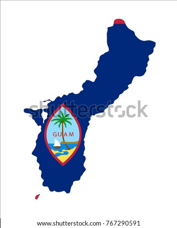 Map Guam US Flag Isolated On Stock Vector (Royalty Free) 767290591 ...
