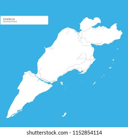 Map of Guanaja Island,Honduras, contains geography outlines for land mass, water, major roads and minor roads.