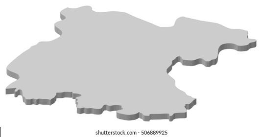 Map - Guanajuato (Mexico) - 3D-Illustration