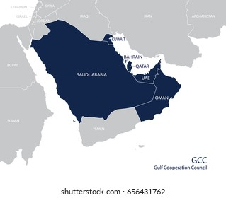 Map of the Gulf Cooperation Council (GCC)'s members. Vector.