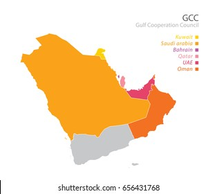 Map of the Gulf Cooperation Council (GCC)'s members.