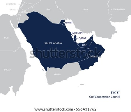 Map Gulf Cooperation Council GC Cs Members Stock ...