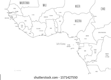 Map of Gulf of Guinea countries. Handdrawn doodle style. Vector illustration.