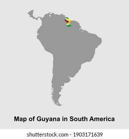 Map of Guyana in South America isolated vector illustration