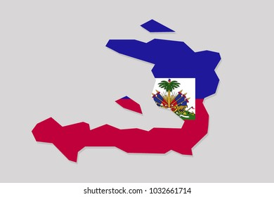 map of haiti with flag,vector illustration