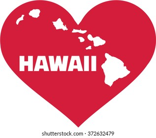 Map of hawaii in a heart