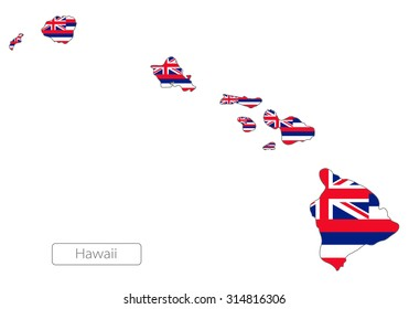 Map of Hawaii with an official flag. USA. Illustration on white background
