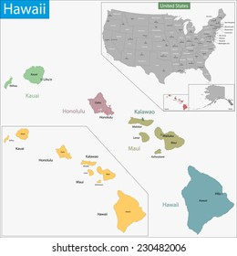 Map of Hawaii state designed in illustration with the counties and the county seats