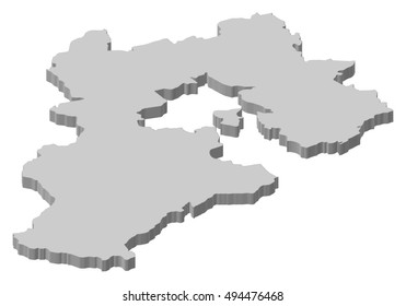 Map - Hebei (China) - 3D-Illustration