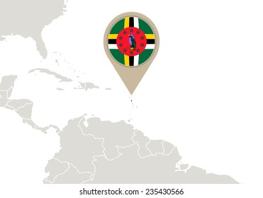 Map with highlighted Dominica map and flag