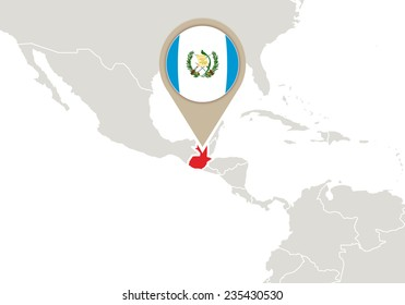 Map with highlighted Guatemala map and flag