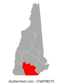Map of Hillsborough in New Hampshire on white