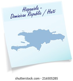 Map of hispaniola as sticky note in blue