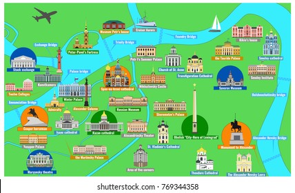 Map of the historical center of Saint Petersburg with sights flat style vector illustration. Architectural symbols of St. Petersburg