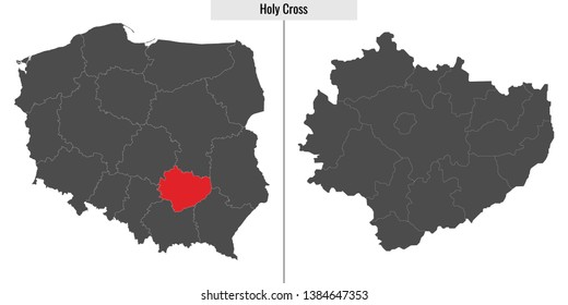 map of Holy Cross voivodship province of Poland and location on Polish map