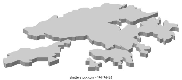 Map - Hong Kong (China) - 3D-Illustration