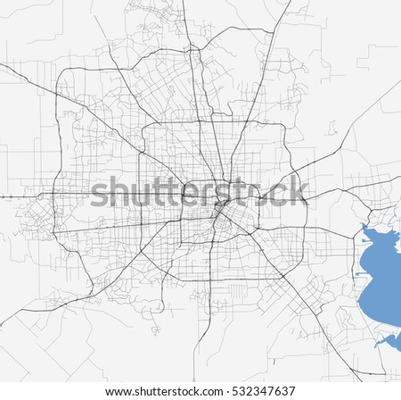 Map Houston City Texas Roads Stock Vector Royalty Free 532347637