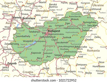 Map of Hungary. Shows country borders, urban areas, place names and roads. Labels in English where possible.Projection: Mercator.