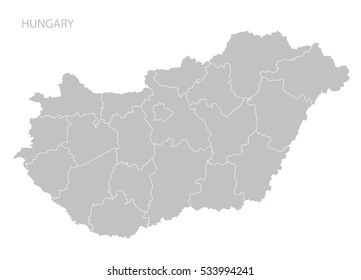 Map of Hungary. Vector.